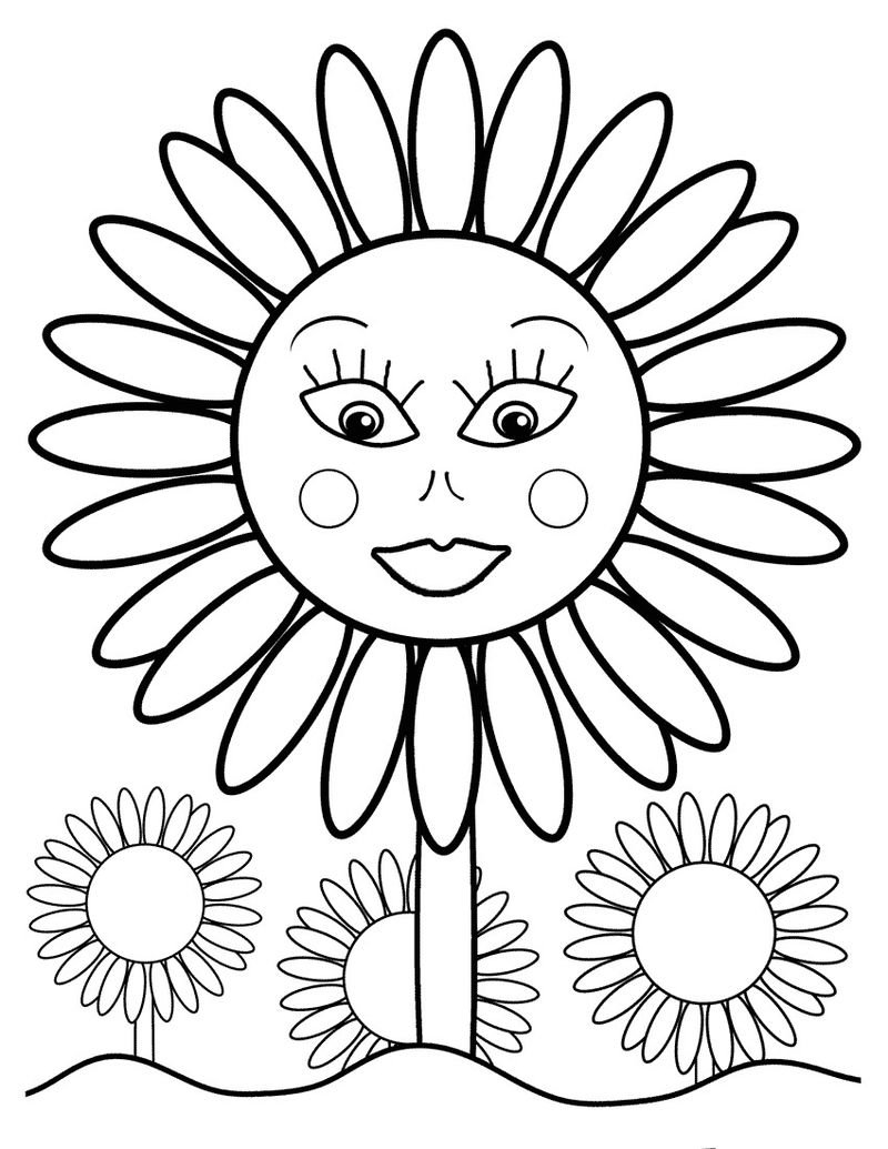 Sunflower Coloring Pages For Kids 001