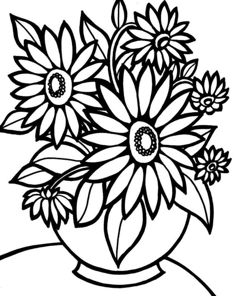 Sunflower Vase Flower Coloring Page