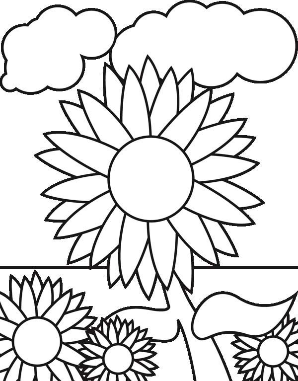 Sunflowers In The Garden Coloring Page