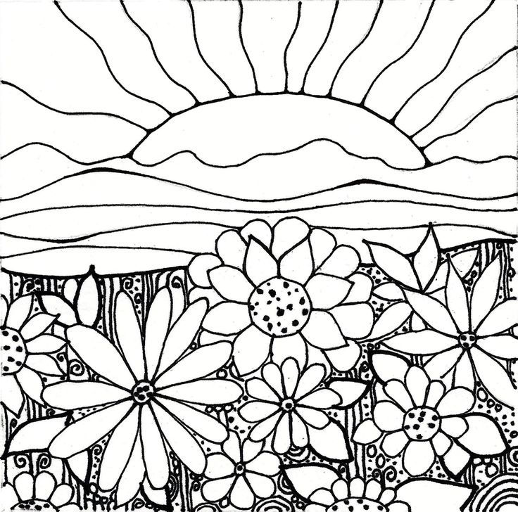 Sunrise Flower Coloring Pages
