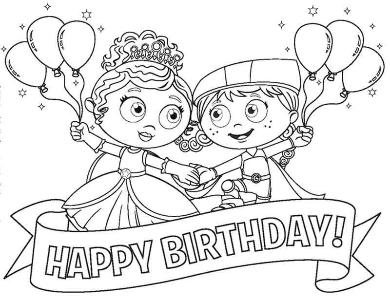 Super Why Coloring Page Happy Birthday
