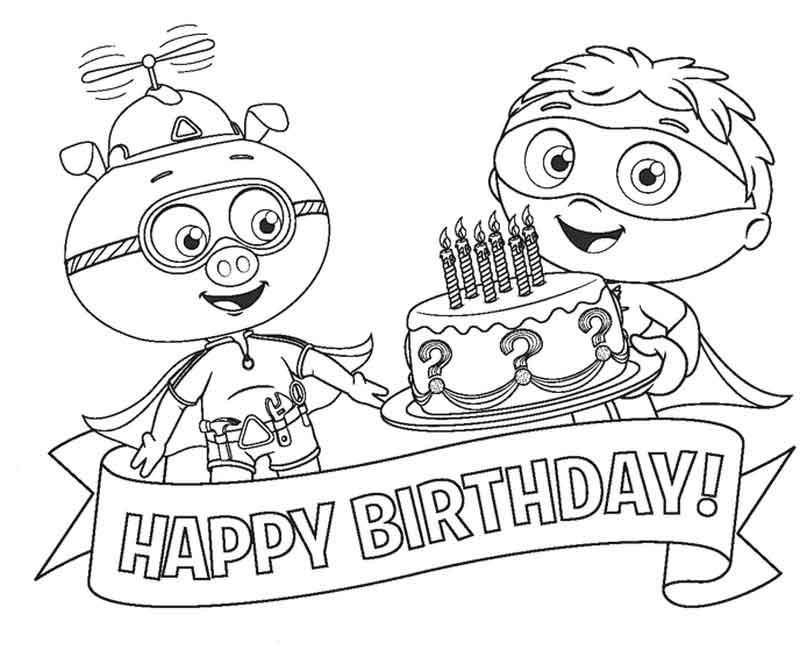 Super Why Coloring Pages Happy Birthday
