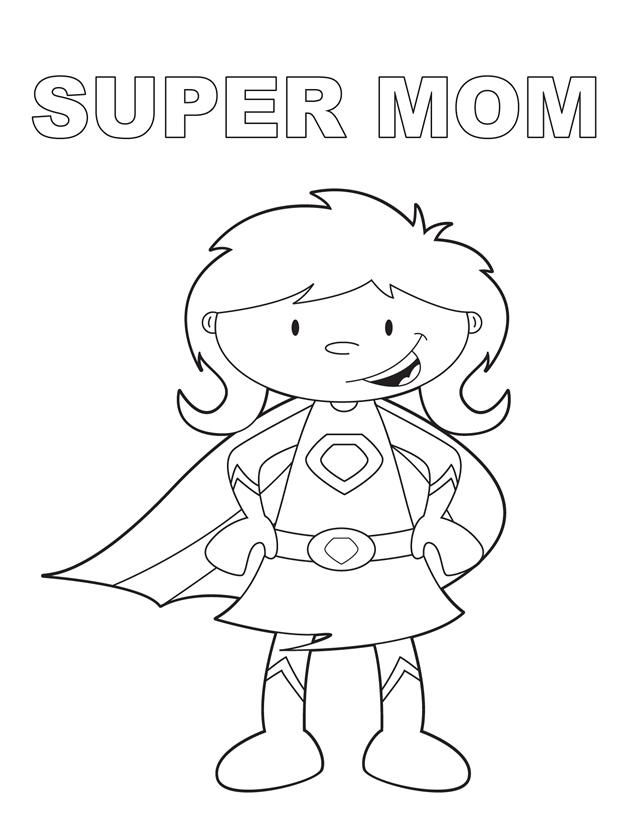 Super Mom Mothers Day Coloring Pages