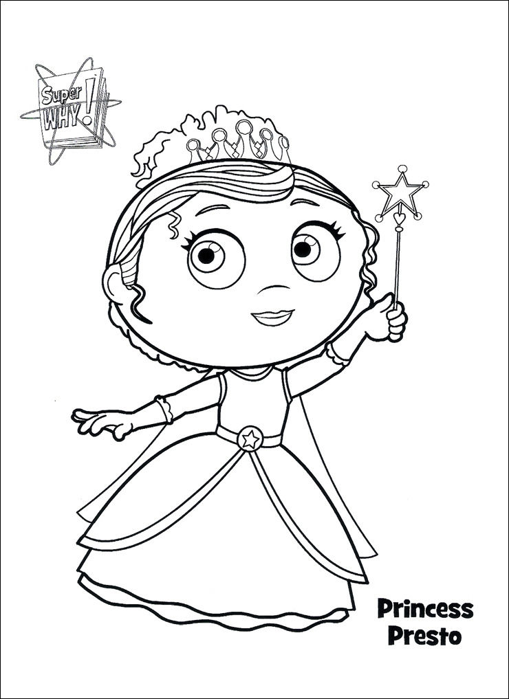 Super Why Coloring Pages Princess Presto 001