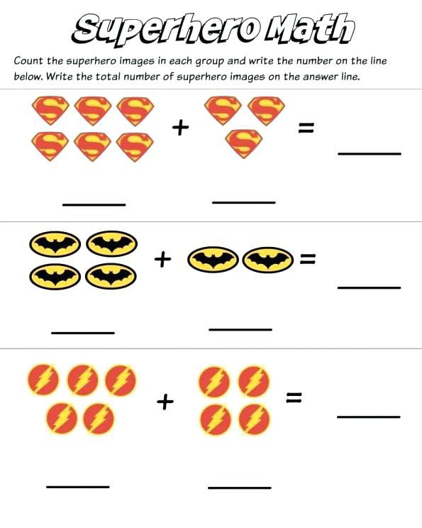 Superhero Math Kindergarten Worksheets