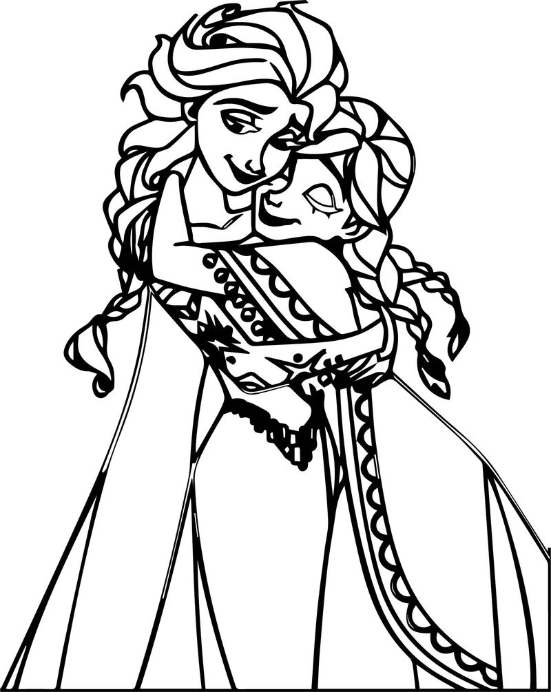Sweet Elsa Anna Hug Coloring Page Free Coloring Pages