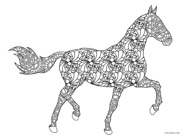 Swirl Pattern Horse Coloring Page