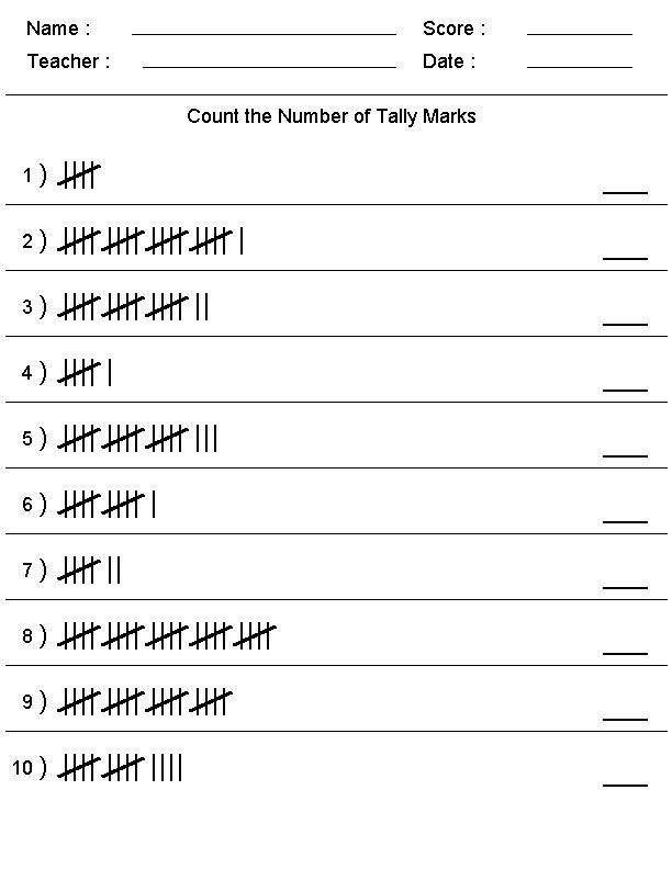 Tally Chart Worksheets Template 001