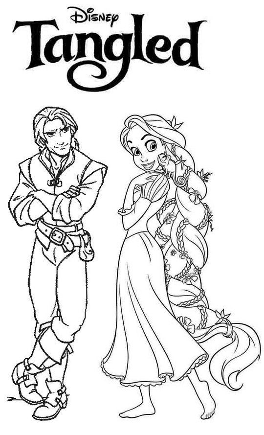Tangled rapunzel and flynn rider coloring page