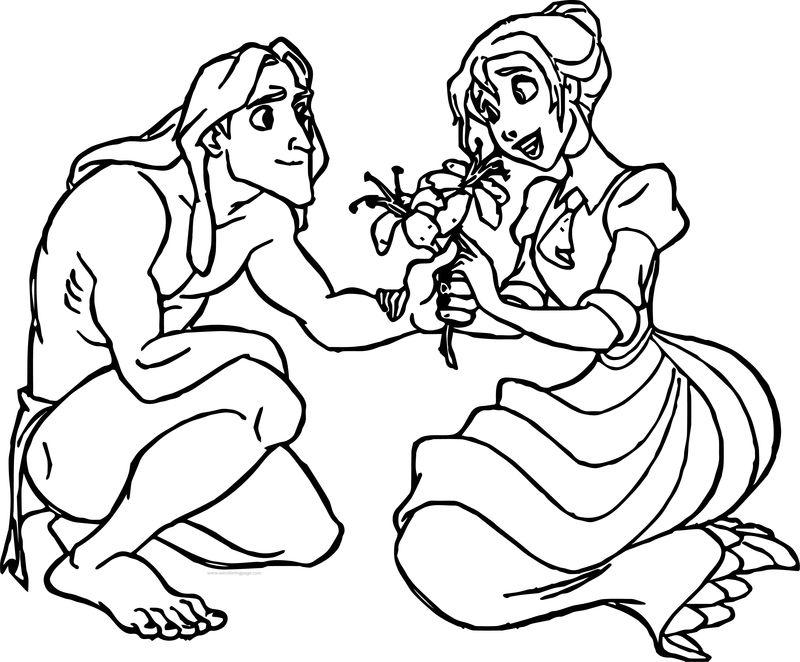 Tarzan And Jane Flowers Coloring Pages