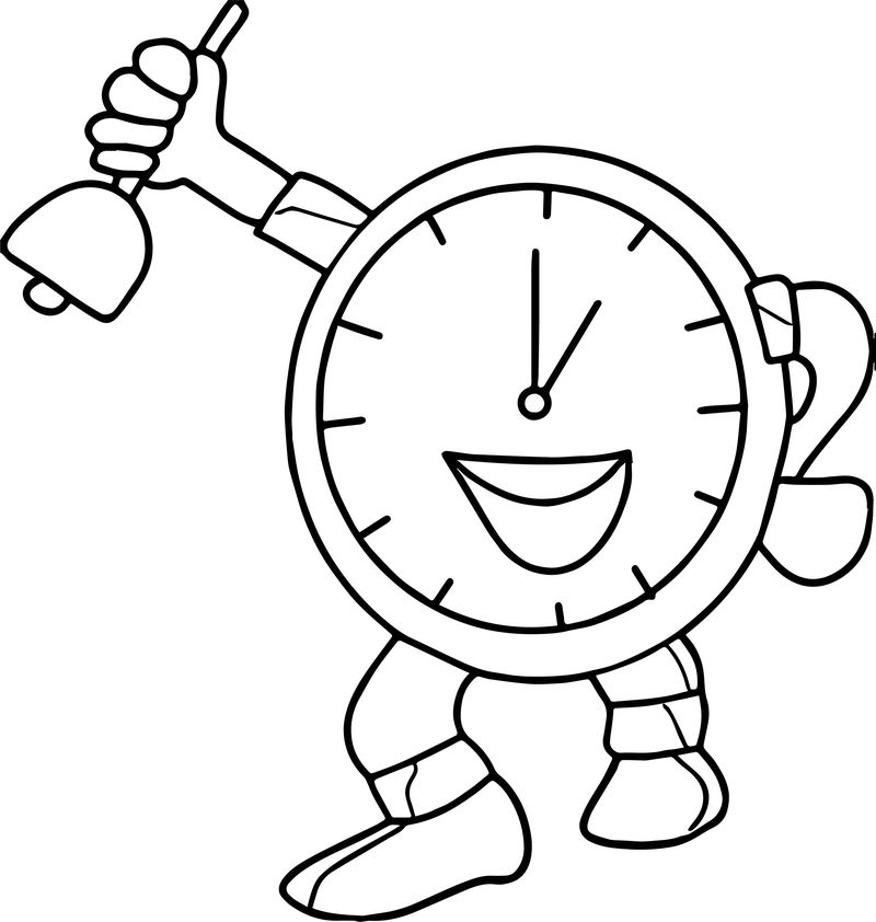 Teacher Clock Coloring Page