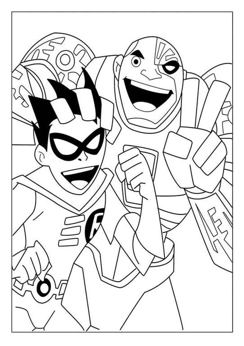 Teen Titans Coloring Pages Cyborg And Nightwing