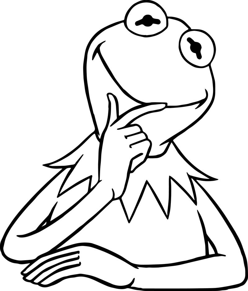 The Muppets Kermit The Frog Think Coloring Pages