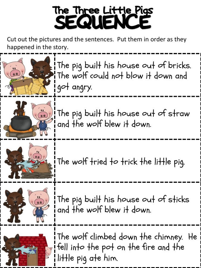 The Three Little Pigs Worksheets Sequence