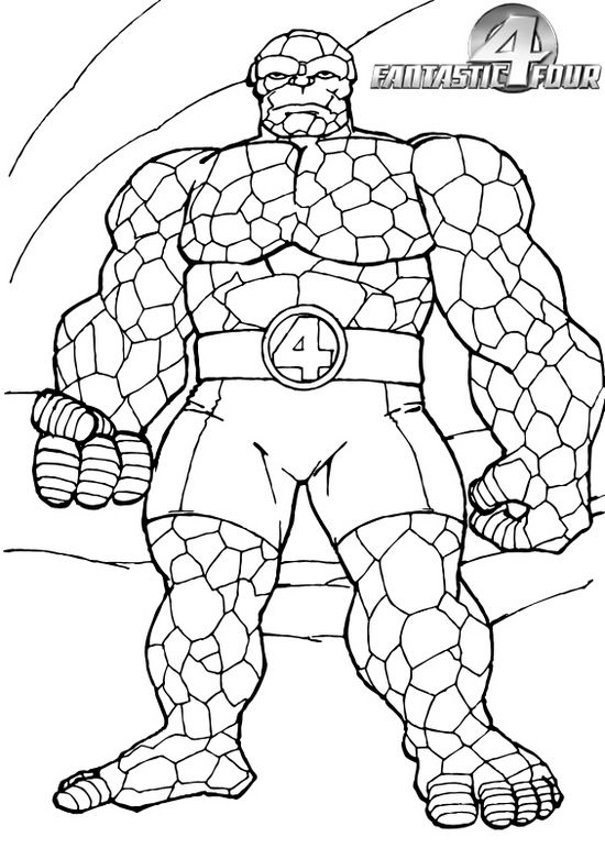 Thing From Fantastic 4 Coloring Page 1