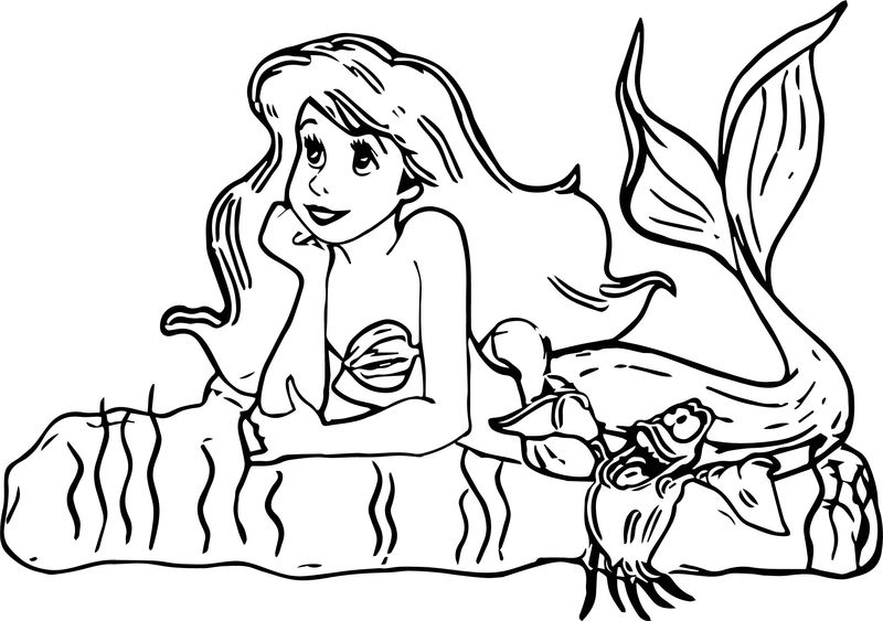 Thinking Ariel Mermaid Coloring Page