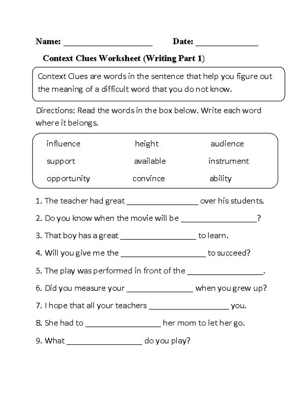 Third Grade Worksheets English