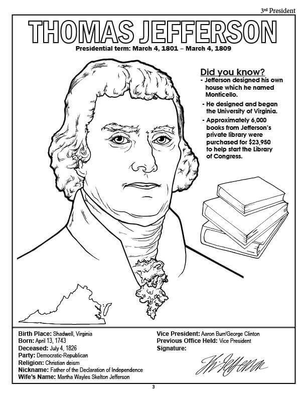 Thomas jefferson presidents day worksheet