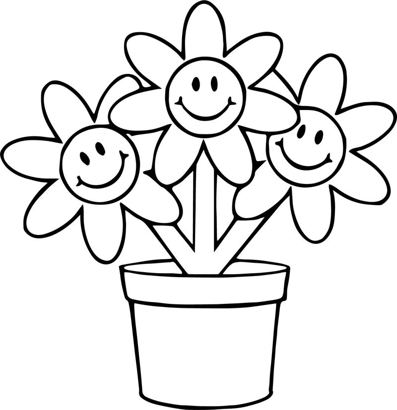 Three Flower In Pot Cartoon Funny Coloring Page
