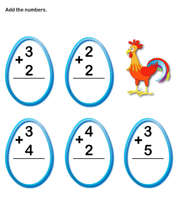 Three One Digit Addition Worksheets