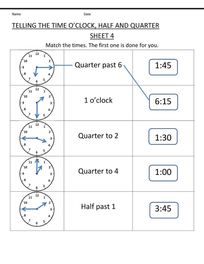Time Elapsed Worksheet Matching