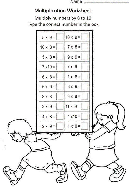 Times Table Practice Sheets Math