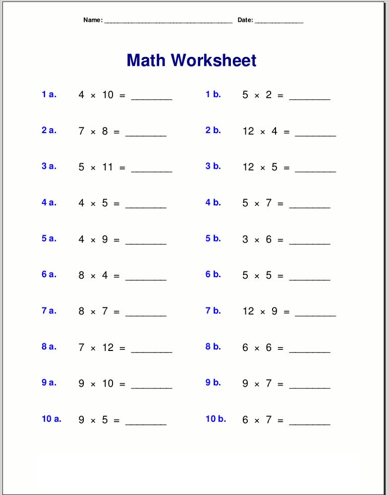 Times Tables Practice Sheets Math