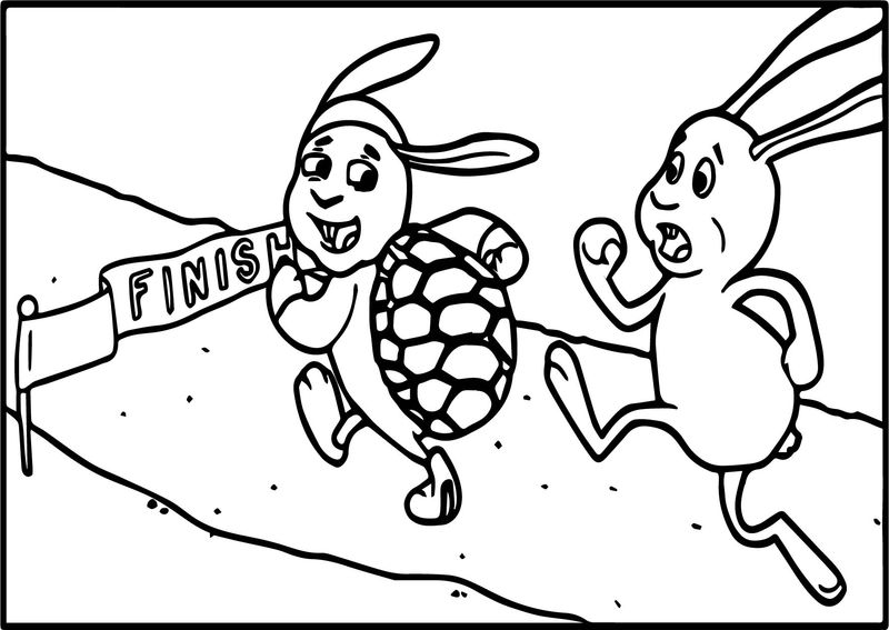 Tortoise Turtle And Bunny Finish Coloring Page