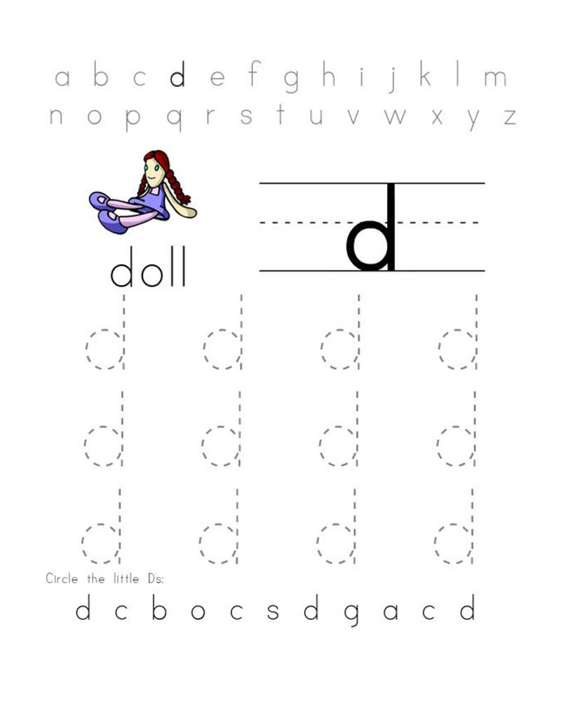 Trace Letter D Doll
