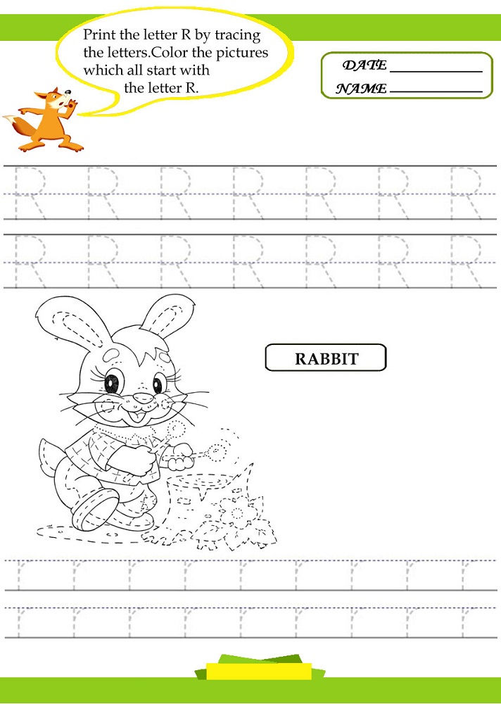 Trace Letter Worksheets Free Rabbit 001