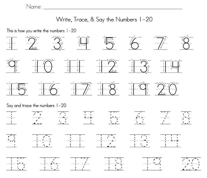 Trace Number 1 20 Worksheet Practice