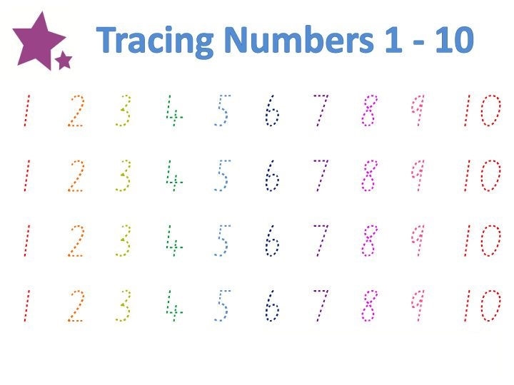 Trace Numbers 1 10 Colorfull
