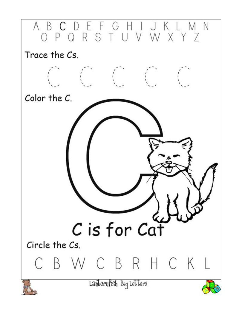 Trace The Letter C Cat