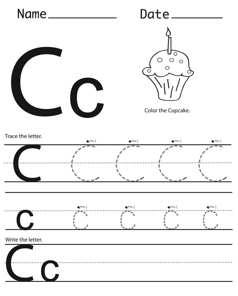 Trace The Letter C Cupcake