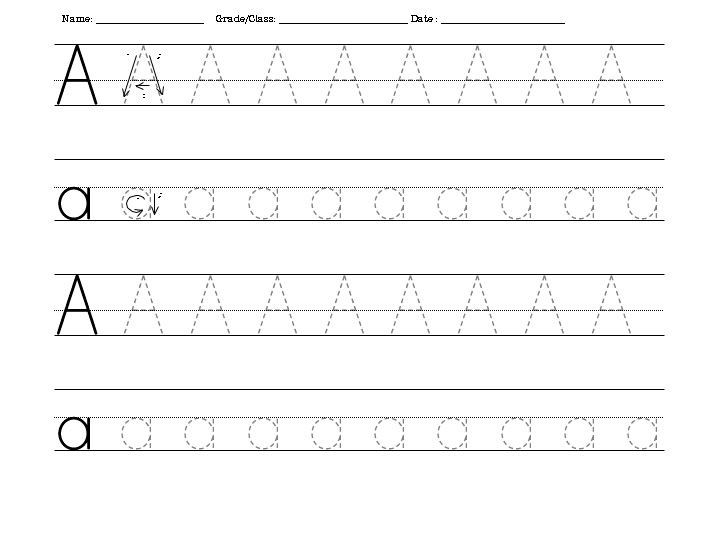 Traceable letters worksheets letter a 001