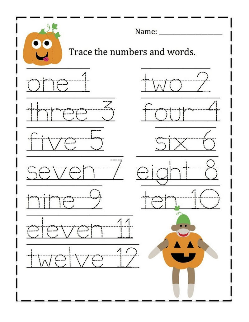 Tracing Numbers 1 10 Worksheet Words