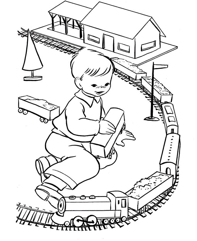 Train Set Toy Coloring Page 001