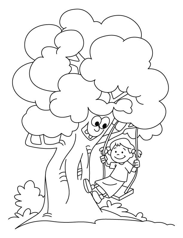 Tree Swing Coloring Page