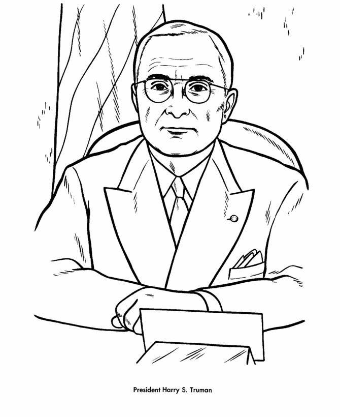 Truman Presidents Day Coloring Pages