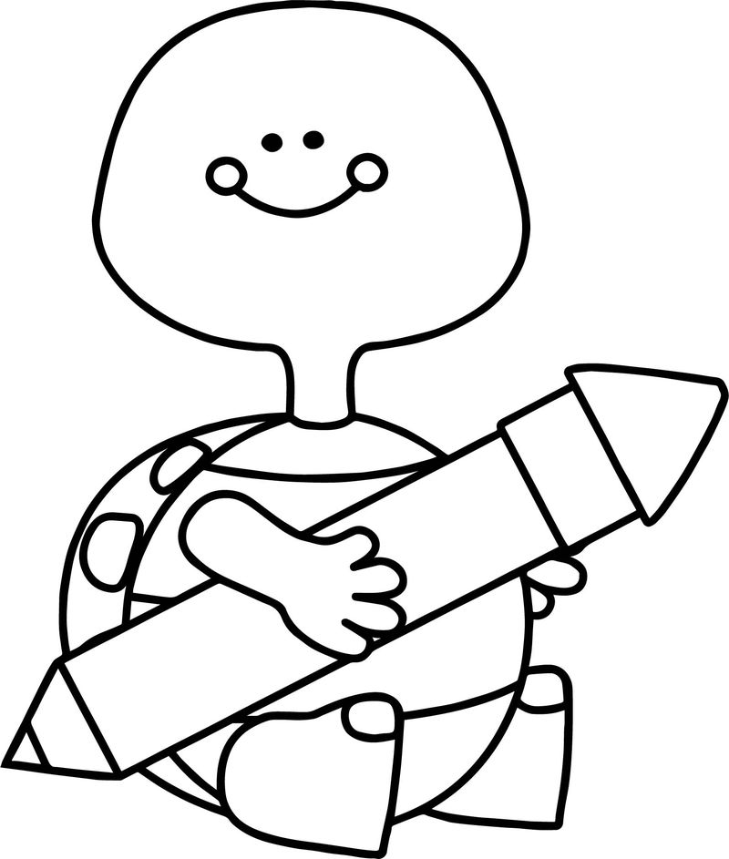 Turtle Holding Pen Coloring Page
