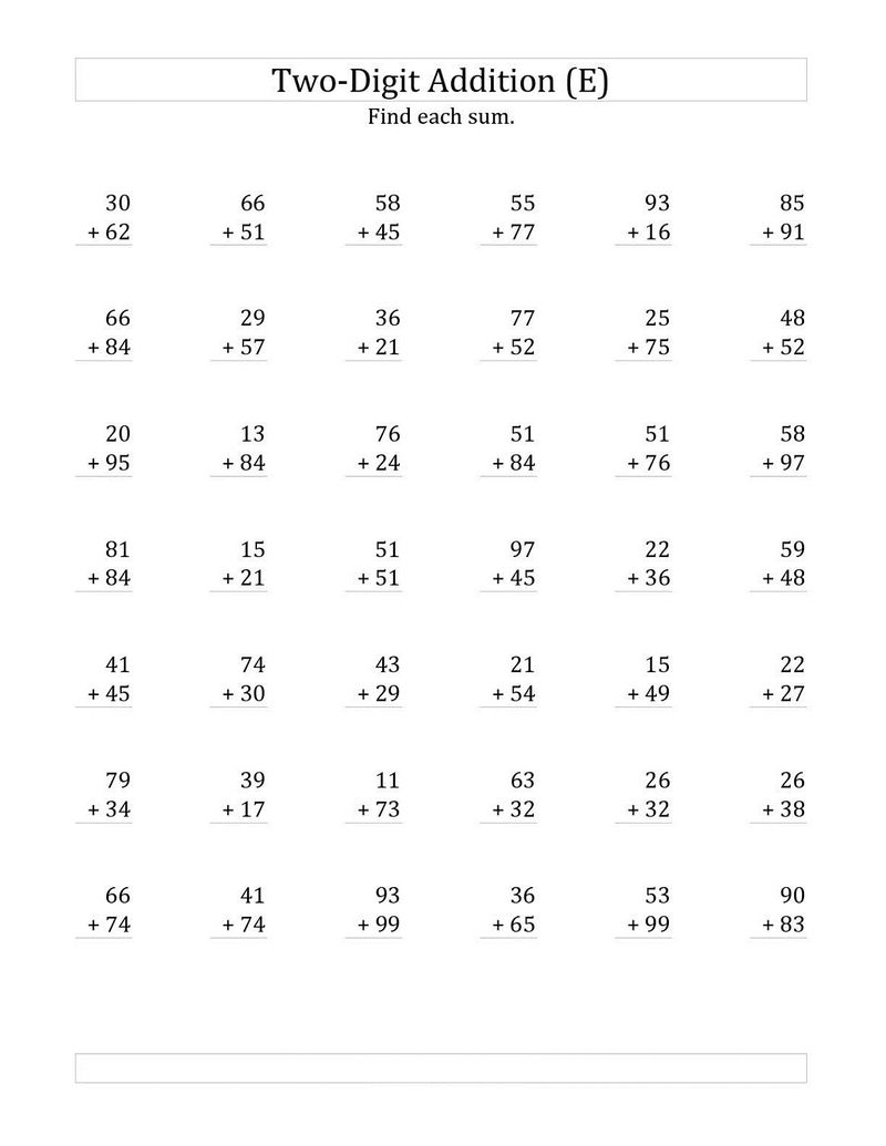 Two Digit Math Worksheets Free