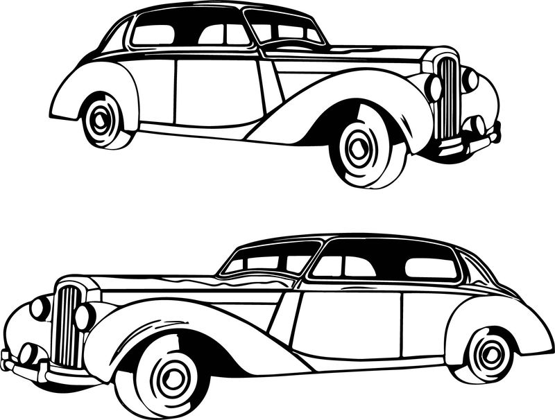 Two Vintage Antique Car Coloring Page