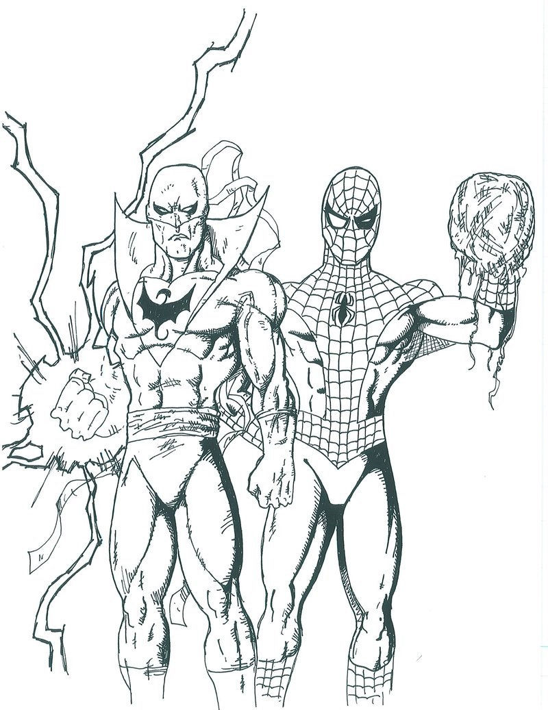 Ultimate Spiderman Iron Fist Coloring Pages