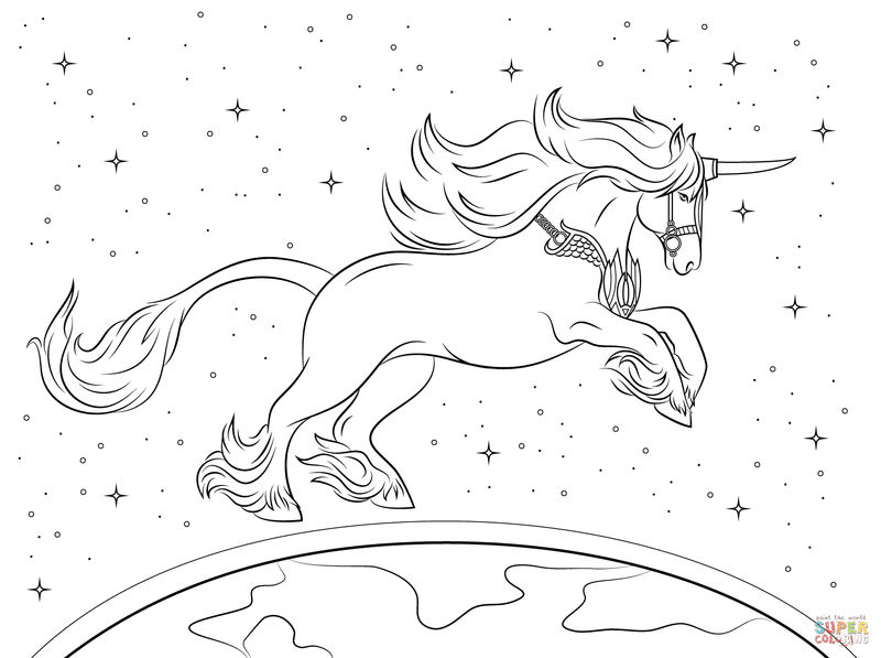 Unicorn Above The World Coloring Pages