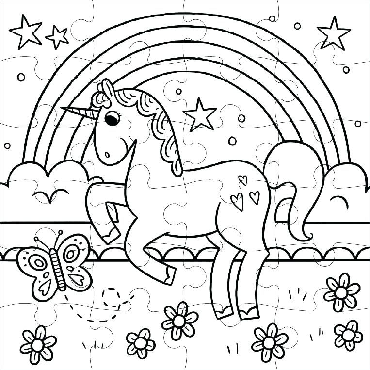 Unicorn Rainbow Puzzle To Print Color And Cut