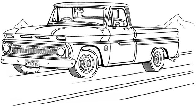 Unique Old Chevy Truck Coloring Page
