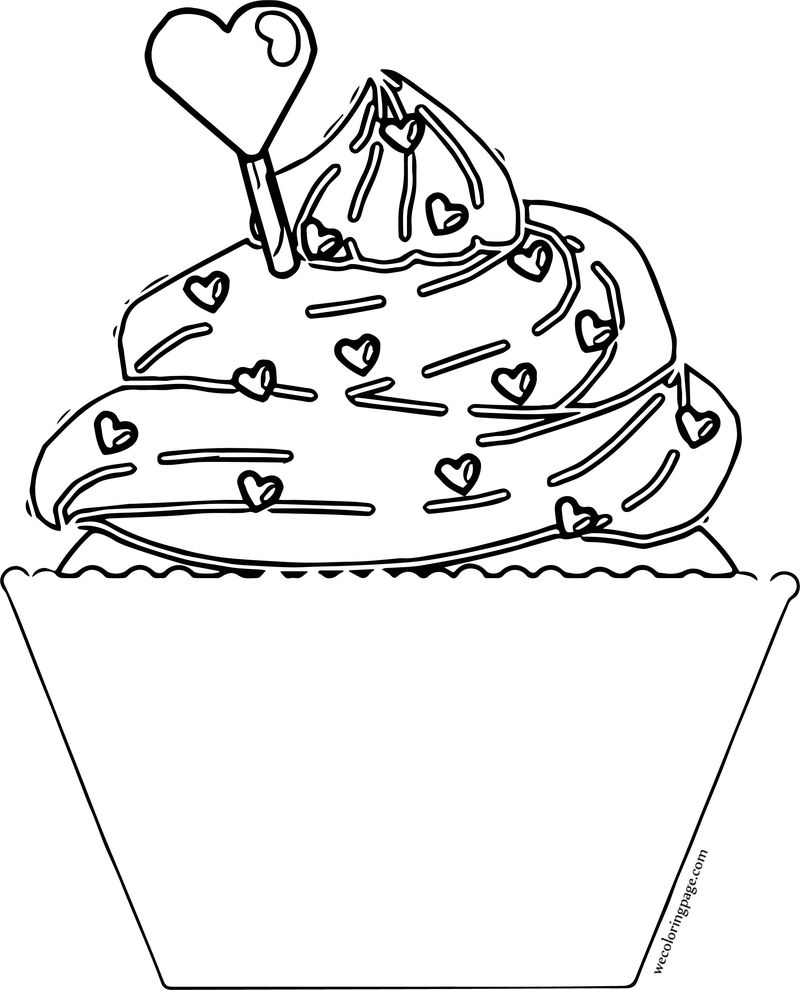 Valentine Day Cupcake Coloring Page