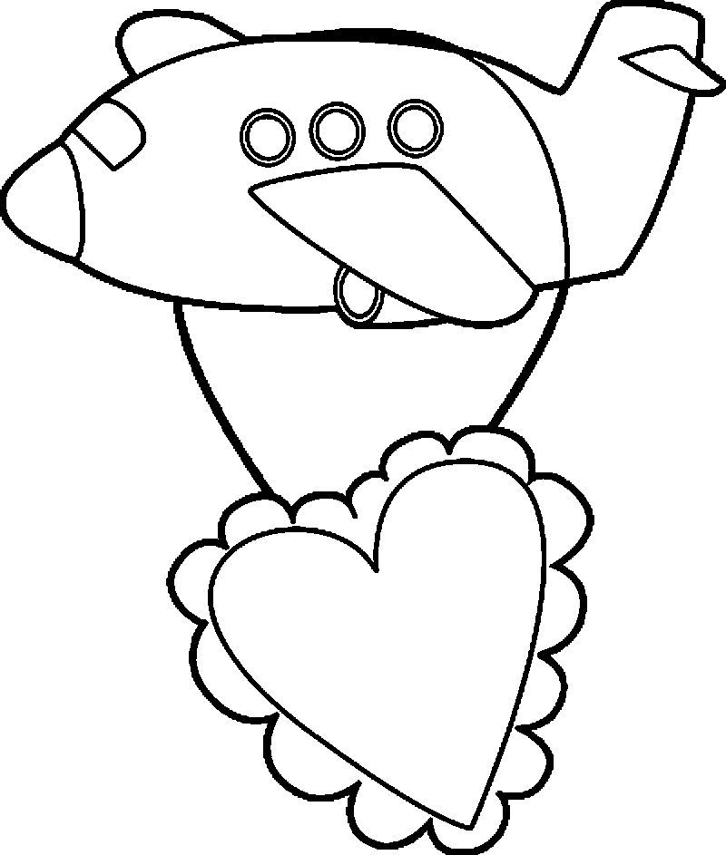 Valentines Day Airplane Coloring Page