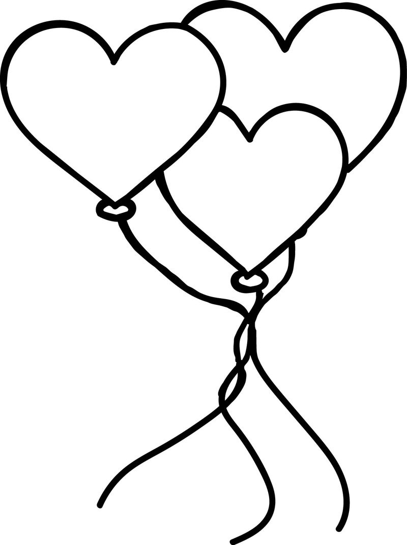 Valentines Day Balloons Coloring Page
