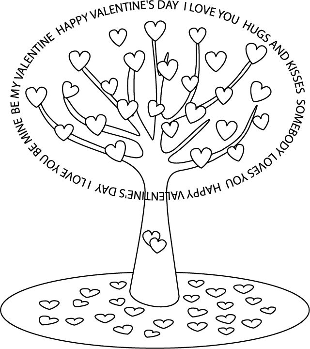 Valentines day coloring pages love tree